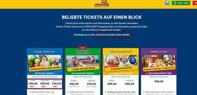 Онлайн покупка билетов на сайте Леголенда.